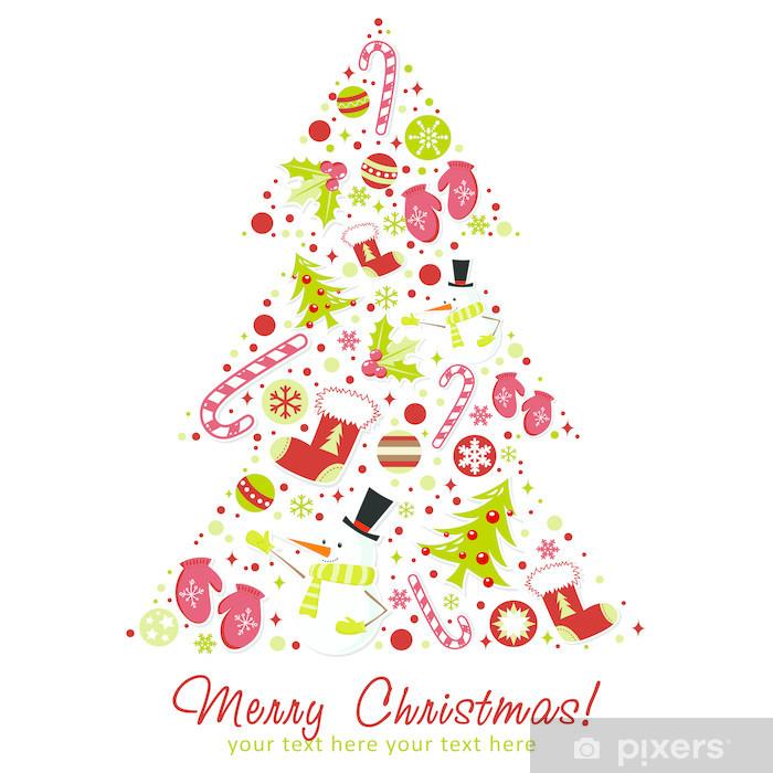 Immagini Natalizie Stilizzate.Carta Da Parati In Vinile Stilizzato Albero Di Natale Con I Giocattoli Di Natale Palline Fiocchi Di Neve