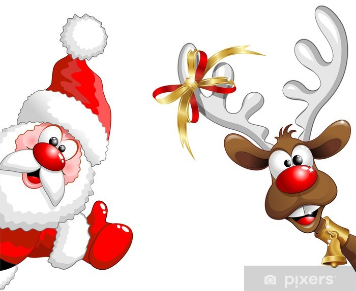 Pixerstick Sticker Renna e Babbo Natale ok-grappige Kerstman en rendier - Kerstmis