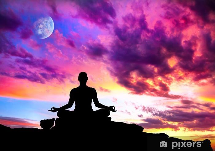 Papier Peint Autocollant Yoga méditation silhouette pose - Santé