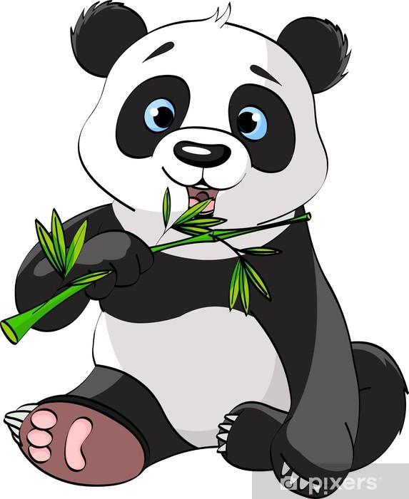 Naklejka Pixerstick Panda jedzenia bambusa - Naklejki na ścianę