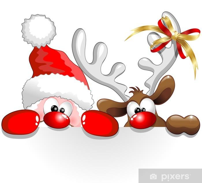 Naklejka Pixerstick Święty Mikołaj i renifery, Santa Claus i reniferów tła - Boże Narodzenie
