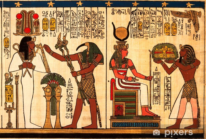 Naklejka Pixerstick Egipski papirus z antykami hieroglify - iStaging