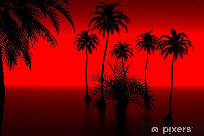 3d model palm-tree and sunset  made in 3ds max Wall Mural - Vinyl