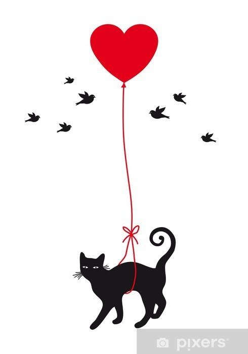Fototapeta winylowa Kot z balonu serca, wektor - Styl życia