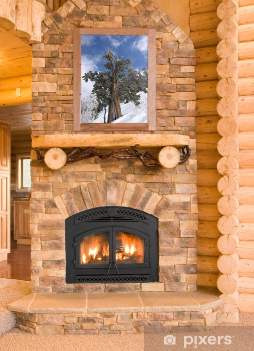 Log Cabin Home Interior with Warm Fireplace with wood, flames, a Vinyl Wall Mural - International Celebrations