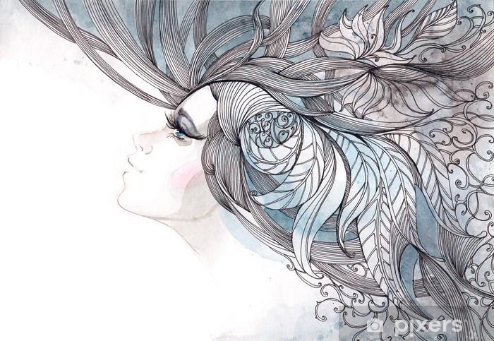 Papier peint vinyle Ses cheveux orné de feuillages - Mode