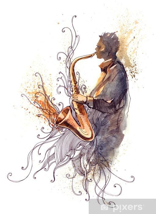 Vinyl Fotobehang Sax (Cbm die schildert) - jazz