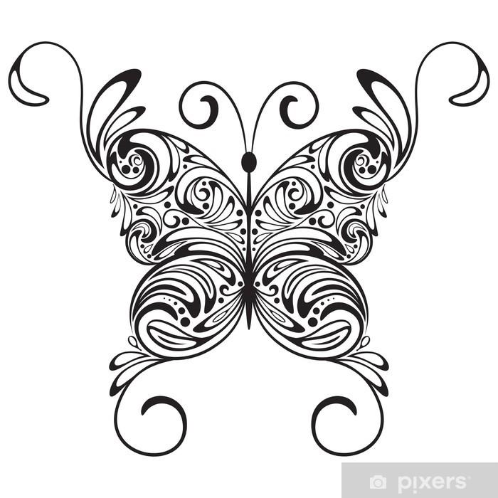 Fototapeta Tatuaż Motyl Wektor Monochromatycznych Pixers żyjemy