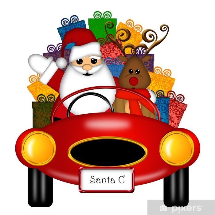 5e218cb616c27 Vinilo Papá Noel y renos en Red Sports Car con los presentes Pixerstick
