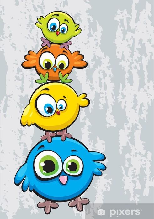 Fotomural Estándar Familia de aves - Para niña