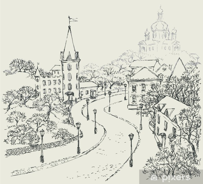 Papier peint vinyle Croquis de vecteur de la ville paysage de la vieille rue - Europe