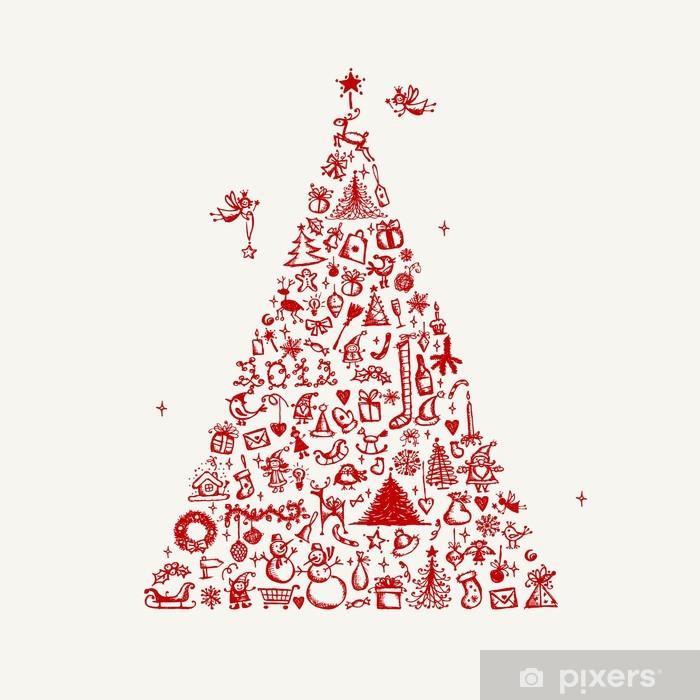 Fototapete Weihnachtsbaum Skizze Fur Ihr Design