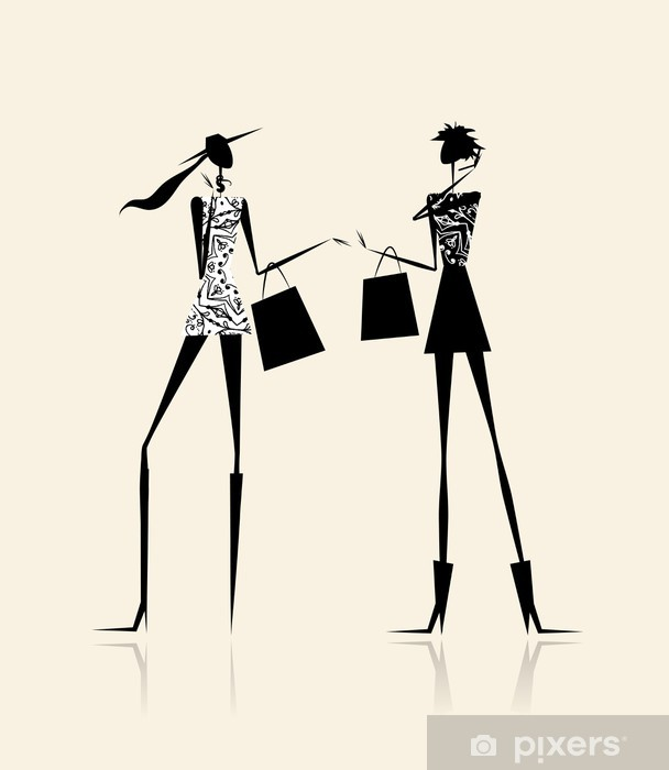 6e5b777a33654 Vinilo Pixerstick Moda chicas con bolsas de compras