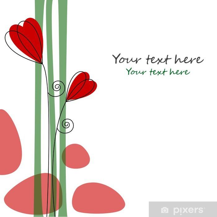 Poster Blumen und Herzen in Rot - Fröhlichkeit