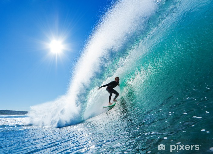 Surfer on Blue Ocean Wave Vinyl Wall Mural - Themes