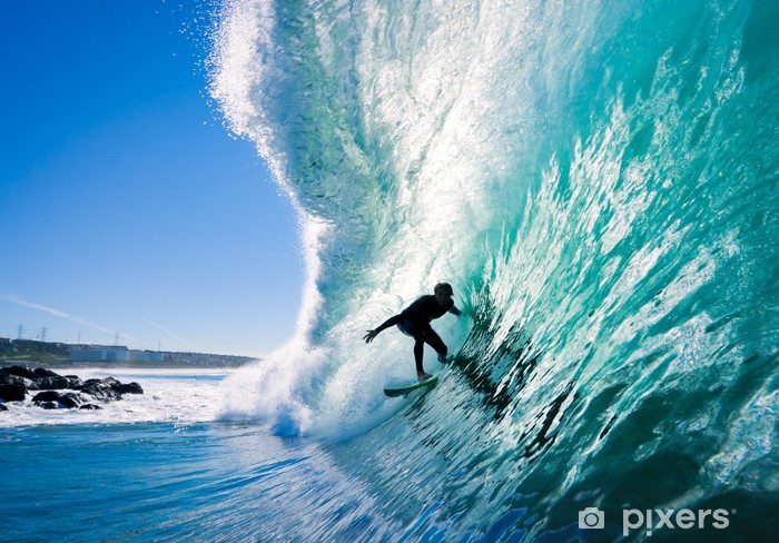 Vinilo Pixerstick Surfista en Blue Ocean Wave - Temas