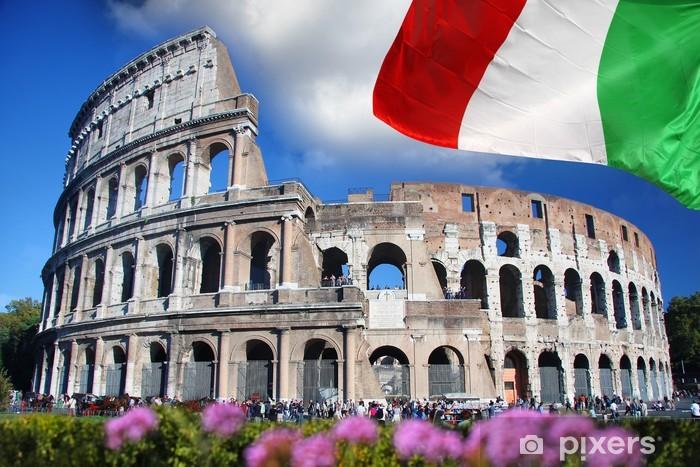 Sticker Pixerstick Colosseum avec le drapeau de l'Italie, Rome - Thèmes