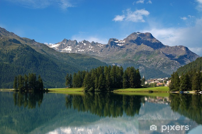 Pixerstick Aufkleber Alpen in der Schweiz - Silvaplana - St. Moritz - Europa