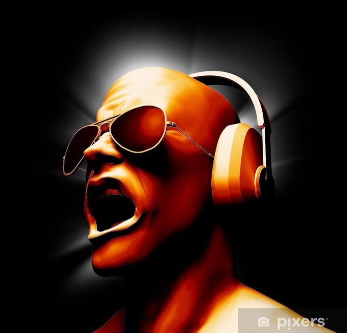 Vinilo Pixerstick DJ con los auriculares - Música