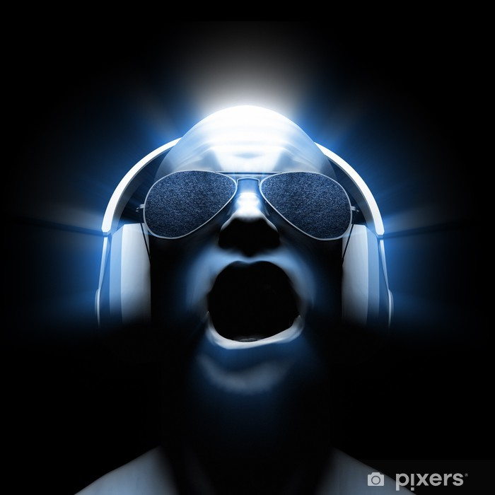 Vinyl Fotobehang DJ met koptelefoon - Muziek