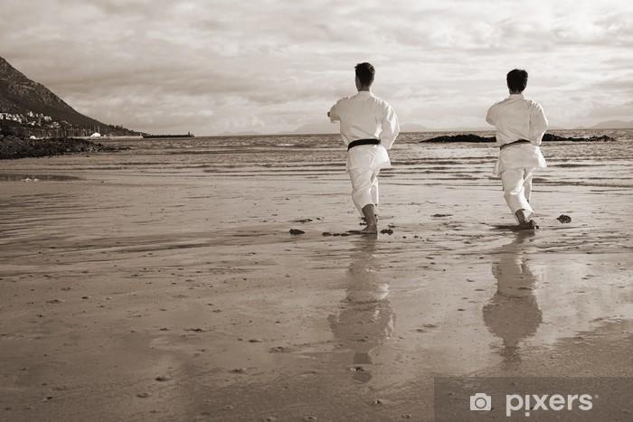 Naklejka Pixerstick Młodych dorosłych mężczyzn ćwiczenia kata na plaży - Tematy