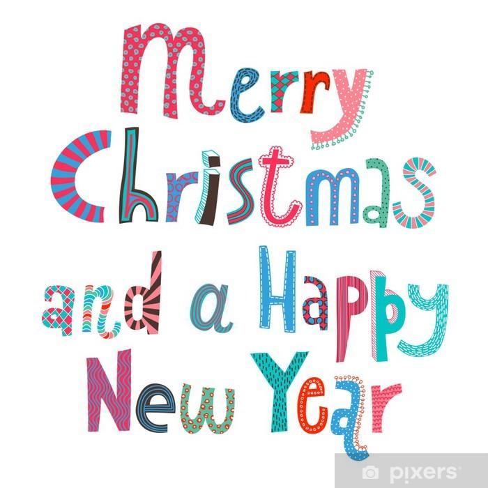 Sticker Prettige Kerstdagen En Een Gelukkig Nieuwjaar Belettering