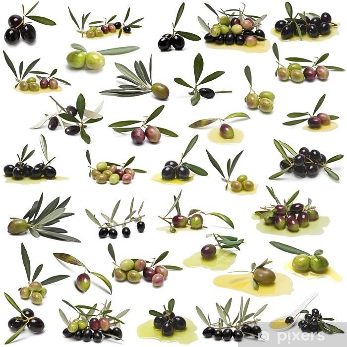 Sticker Pixerstick Grande collecte des olives isolé sur fond blanc. - Olives