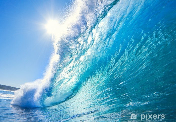 Carta da Parati in Vinile Blu oceano onda - Mare e oceano