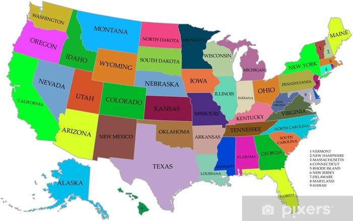 Afwasbaar Fotobehang Kaart van de VS met staten - Thema's