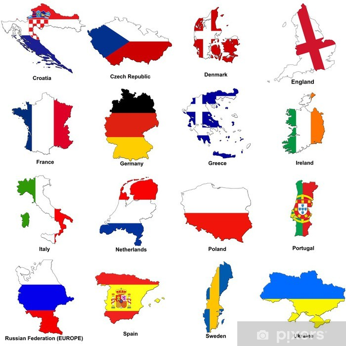 Fototapeta Euro 2012 Mistrzostwa Europy Mapy Flag Pixers