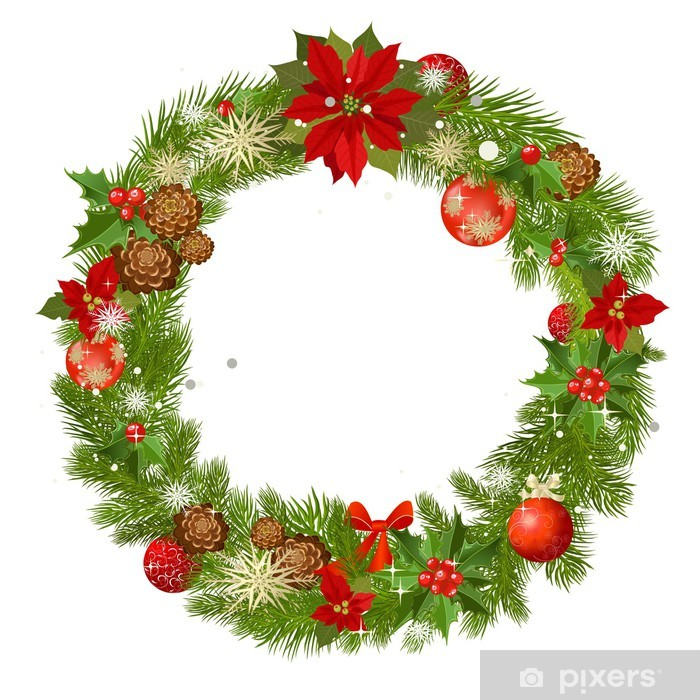 Christmas Wreath Vector.Christmas Garland Vector Frame Wall Mural Vinyl