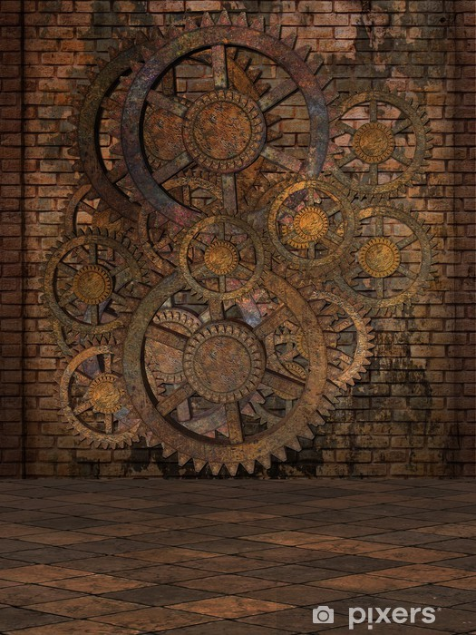 Steampunk Background Vinyl Wall Mural - Steampunk