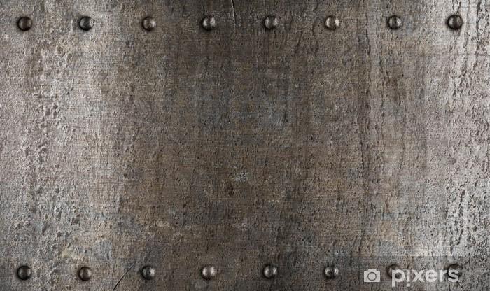Fototapeta winylowa Płyta metalowa lub tekstury zbroi nitami - Style