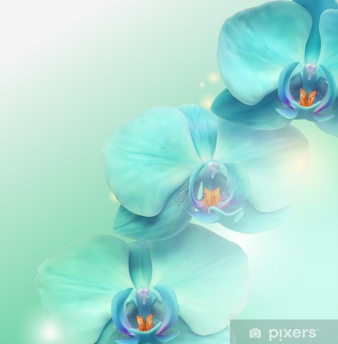 Sticker Pixerstick Fleur d'orchidée fond - Thèmes