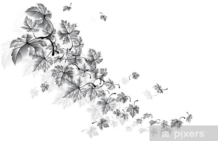 Naklejka Pixerstick Autumn wind-opadających liści, wektor - Pory roku