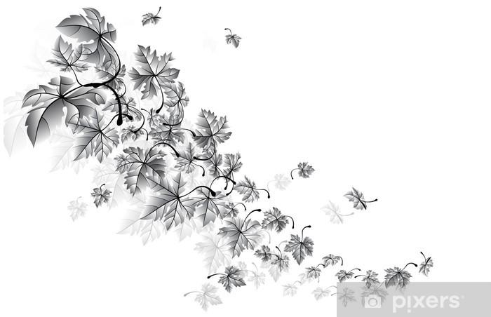 Papier peint vinyle Vent d'automne-feuilles qui tombent, vecteur - Saisons
