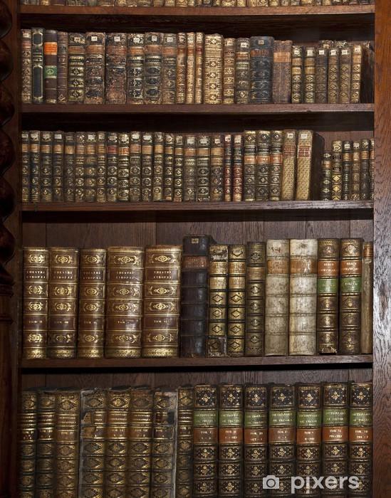 Pixerstick Sticker Historische oude boeken in oude plank bibliotheek - bibliotheek