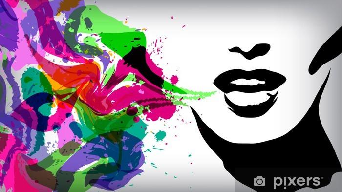 Fototapeta winylowa Mówi kobieta, moda, tło, Pojęcie -