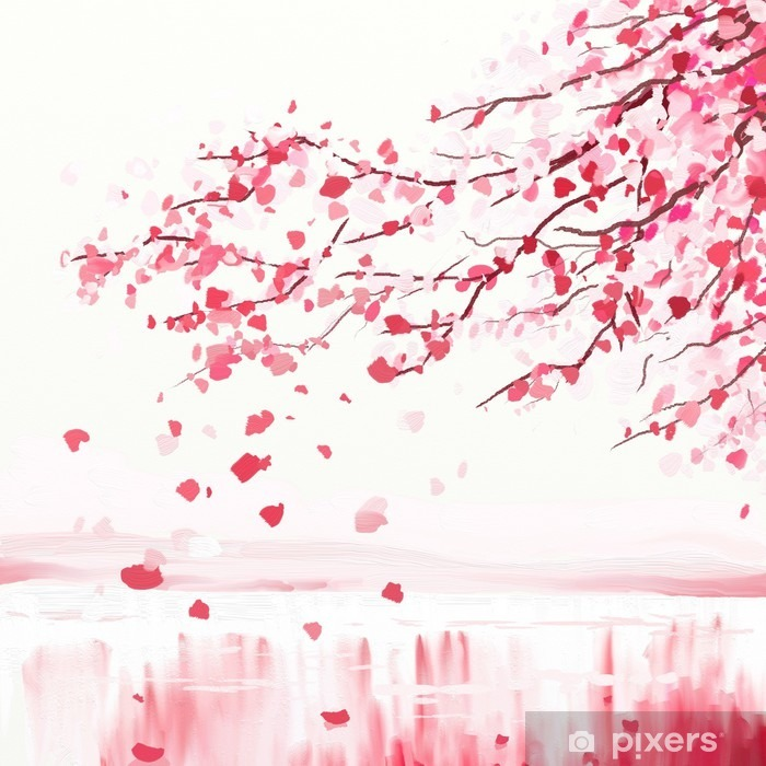 Japanese cherry tree Pixerstick Sticker - Styles