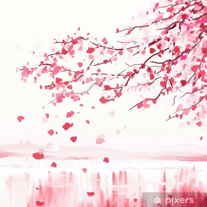 Japanilainen kirsikkapuuta Pixerstick tarra -