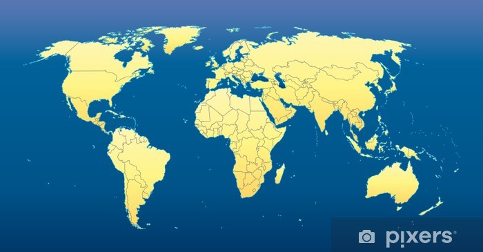 World Map 2012 Including New States Dark Blue Background