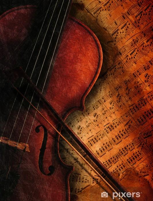 Fototapeta winylowa Skrzypce na arkuszu muzyki -