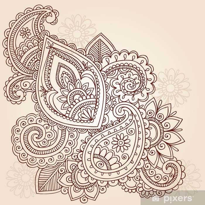 Henna Abstract Doodle Mehndi Tattoo Vector Design Wall Mural