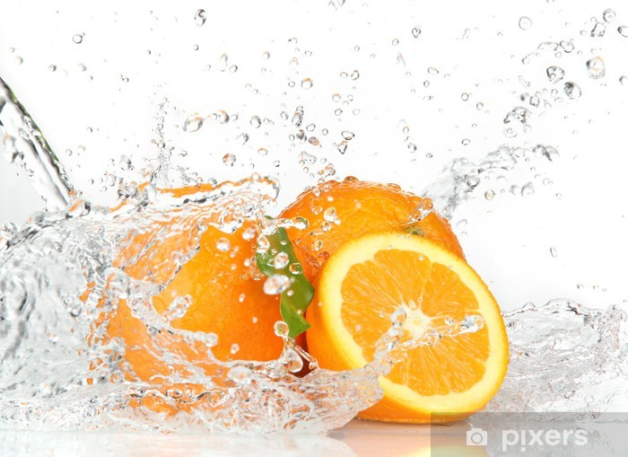 Orange fruits with Splashing water Vinyl Wall Mural - Destinations