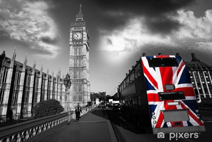 Vinyl Fotobehang Big Ben met stadsbus in Londen, UK -