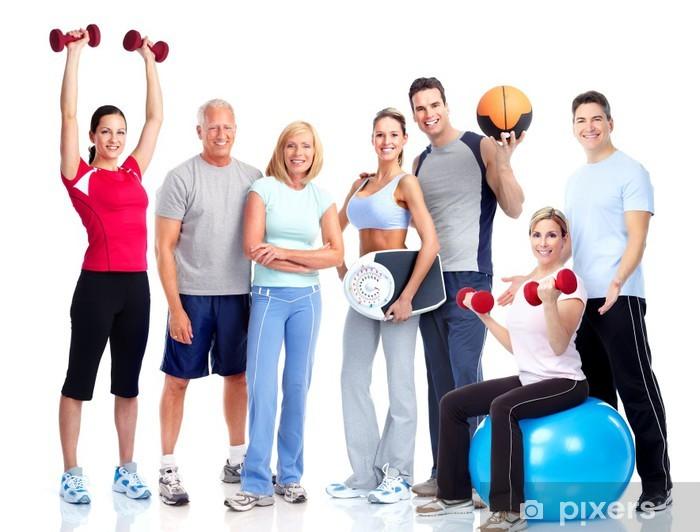 Naklejka Pixerstick Siłownia i Fitness. Uśmiecha się ludzi. - Grupy i tłumy