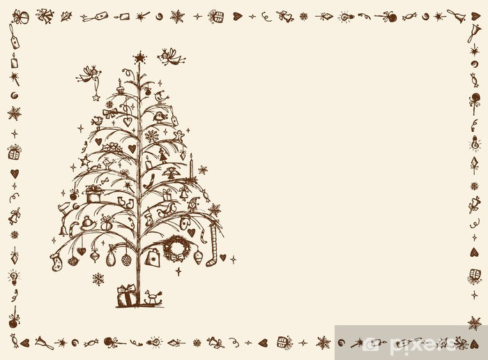 Drawing Christmas Tree Sketch.Christmas Card Sketch Drawing For Your Design Wall Mural Vinyl