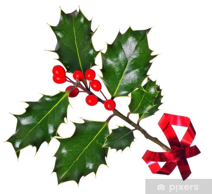 Naklejka Pixerstick Holly (Ilex) - na białym, z czerwoną wstążką - Święta międzynarodowe