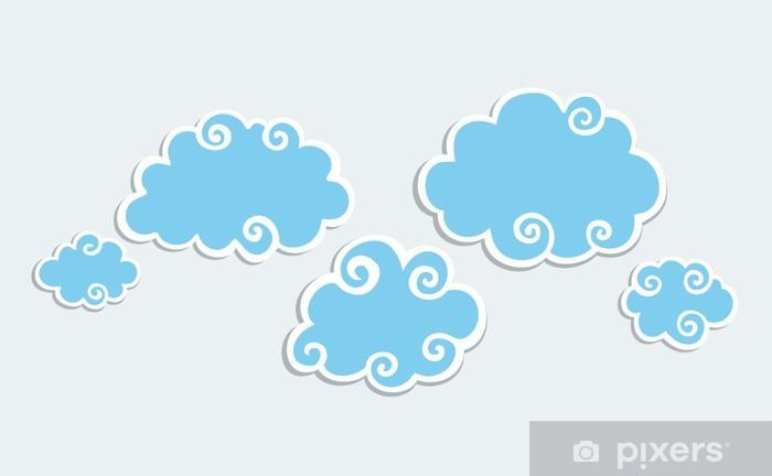 Sticker Nuages bleus avec bordure blanche. • Pixers® - Nous vivons ...