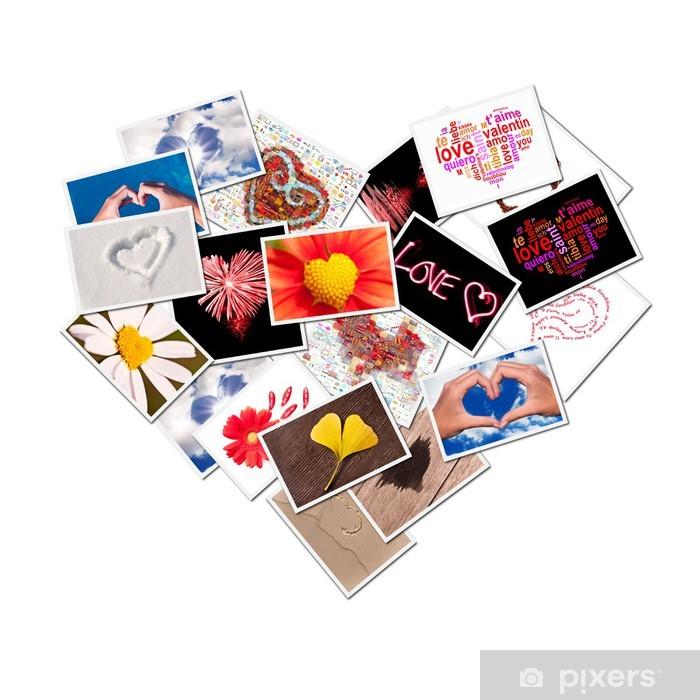 Papier peint vinyle Collage de coeur de photos - Bonheur